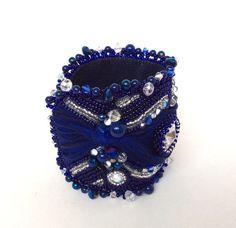 Royal Blue Shibori Beaded Cuff Bracelet by ReneGibson on Etsy