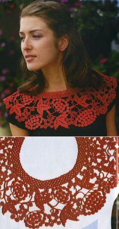 7 Crochet Fabric, Knit Crochet, Crochet Lace Collar, Irish Lace, Crochet Fashion, Irish Crochet, Crochet Earrings, Knitting, Jewelry