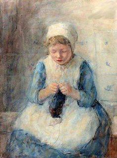 Girl knitting by Robert Gemmel Hutchison