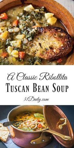 A Classic Ribollita: Tuscan Bean Soup Recipe - Italienische Gerichte - Irish Bean Soup Recipes, Healthy Soup Recipes, Vegetarian Recipes, Cooking Recipes, White Bean Recipes, Good Soup Recipes, Healthy Hearty Soup, Vegetarian Barbecue, Vegitarian Soup Recipes