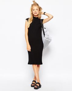 Image 4 ofMonki Sleeveless Rib Midi Dress