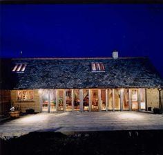 Inviting Long House style oak frame build by Carpenter Oak Exterior Design, Interior And Exterior, Oak Framed Buildings, Oak Frame House, Palmer House, Long House, Barn Renovation, Stone Houses, Farm Yard