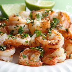 Cilantro Lime Shrimp!  Healthy recipe-skinny taste website!  Made with lemon bc I was out of lime.  Very good!