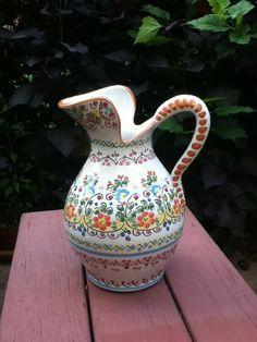 Vintage Spanish Talavera Pottery pitcher by Cruz