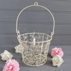 Shabby Vintage Chic Style CREAM Metal Wire FLOWERS Hanging POT BASKET