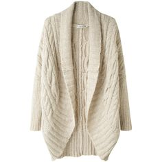 Tsumori Chisato Alpaca Cable Cardigan ($324) ❤ liked on Polyvore featuring tops, cardigans, sweaters, outerwear, jackets, women, chunky cable knit cardigan, cocoon cardigan, long cardigan and cable knit cardigan