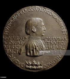 Portrait medal of Alfonso V, King of Sicily and Aragon (1394-1458), by Italian artist Antonio di Puccio Pisano a.k.a Pisanello c.1390-1455. Bronze, 10.8 cm, Louvre Museum, Paris France.