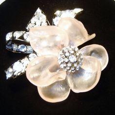 Vintage Vrba Pink Flower Diamante Rhinestone Brooch from thevintagecarousel on Ruby Lane