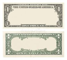 Blank one dollar bill. Blank front and back 1 dollar banknote isolated , Play Money Template, Printable Play Money, Notes Template, Coupon Template, Soap Note, Opening A Bank Account, Teaching Money, Sales Letter, Wolf Wallpaper
