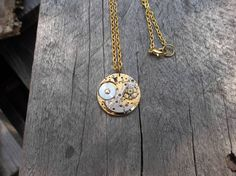 Clockpunk Steampunk Pendant Necklace, Brass Watch Movement with Swarovski Crystal on Brass Cable Link Chain