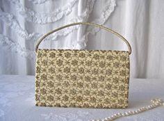 Vintage Beaded Clutch Bag Metal Applique Velvet by CynthiasAttic