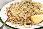 Lemon, chilli and bacon spaghetti with crunchy herbed pangrattato