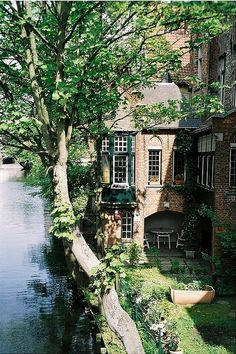 Brick house by a river