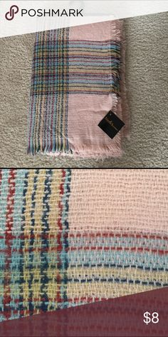 Blanket Scarf Blush pink with plaid design blanket wrap/scarf, never worn NWT Accessories Scarves & Wraps