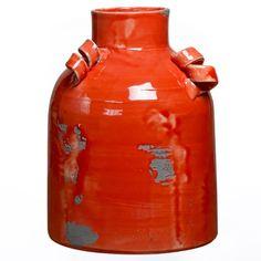 Vaso Orange confeccionado em cerâmica, com formato de tonal e pintura em laranja com detalhes cinza. Perfeito para você que deseja renovar seu decor e trazer um toque de cor alegre para seu ambiente. #Vaso #LojaSoulHome