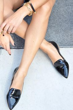 Timeless and polished black smoking slippers
