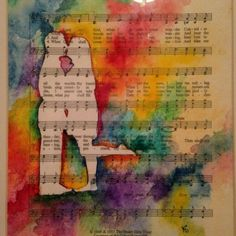 This is a listing for a lovely custom 11x14 watercolor silhouette portrait on a sheet music background