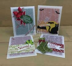 Embossed Four Vellum | Stampin\' Up! | Painted Harvest | Spooky Cat | Hang Your Stocking | Holly Berry Happiness | Sweet Home | Snowflake Sentiments #literallymyjoy #halloween #thanks #christmas #holiday #thankful #leaves #stockings #bats #ghosts #blackcat #spiderweb #present #gift #LemonLimeTwist #PaintedAutumnDSP #BeMerryDSP #SpookyNightDSP #QuiltedChristmasDSP #2017HolidayCatalog #20172018AnnualCatalog