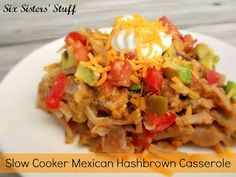 Slow Cooker Mexican Hashbrown Casserole on SixSistersStuff.com- throw it all in the crock pot and let it cook all day!