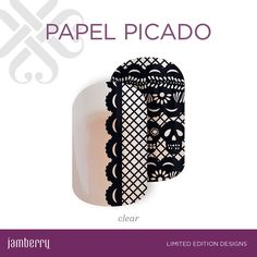 Celebrate Día de los Muertos in style with 'Papel Picado'. Features intricate sugar skulls and lace detailing, this black-and-clear mixed mani is beautiful on its own or paired with your favorite wrap, lacquer, or gel.