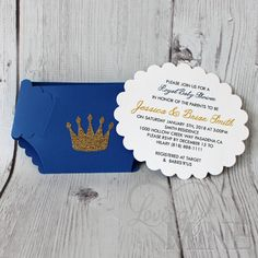 Little Prince Diaper Invitations in Royal Blue and by LovinglyMine