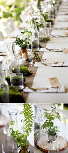 table decorations wedding Larnakes cake bells Moss