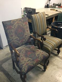 Bon PETROLEUM CLUB   WICHITA, KANSAS   BEFORE AND AFTER COMPLETELY REFINISHED  AND REUPHOLSTERED CHAIRS. Furniture RepairKansas