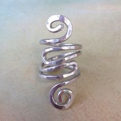 Silver Hammered Wire Ring by Red Fern Studio on Etsy | www.redfernstudio.etsy.com #silverwirering #hammeredsilverring #wirewrappedring #silverstatementring