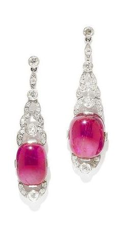 An art deco ruby, tourmaline and diamond earring, by Van Cleef & Arpels…