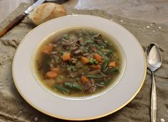 Easy homemade Beef Vegetable Soup Recipe by Old Cut Kitchen using local ingredients from Norfolk County, Ontario's Garden Beef Soup Recipes, Vegetable Soup Recipes, Basic Soup Recipe, Vegetable Soup Ingredients, Retro Recipes, Ethnic Recipes, Homemade Soup, Homemade Recipe, Easy Appetizer Recipes