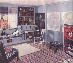 plaid and polka dots + puppet theater and wall maps with twin murphy beds behind the doors (1935)