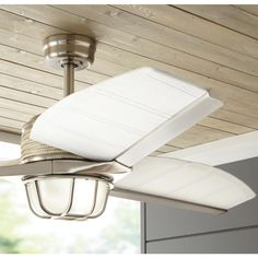 Home Decorators Collection Escape II 60 in. LED Indoor/Outdoor Brushed Nickel Ceiling Fan with Light Kit and Remote Control 34315 - The Home Depot Nautical Ceiling Fan, Coastal Ceiling Fan, Decorative Ceiling Fans, Home Ceiling, Led Ceiling, Traditional Ceiling Fans, Outdoor Light Bulbs, Brushed Nickel Ceiling Fan, Nautical Looks