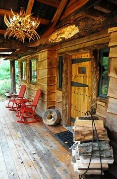 Lovely rustic cabin porch! Perfect spot to hang out and read!