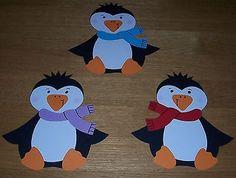 3 süße Pinguine Fensterbild aus Tonkarton
