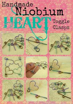 Heart Hypoallergenic Anodized Niobium Toggle Clasp - 20mm - You Pick the Color including Peacock Rainbow, Green, Purple, Vintage Bronze, Verdi Gold, Yellow Brass, Steel Blue, Blue, Pink, Peach and Black