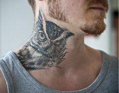 30 owl neck tattoo designs for men - bird ink ideas Owl Neck Tattoo, Tattoo Son, Neck Tattoo For Guys, Tattoos For Guys, Bird Tattoos, Side Of Neck Tattoo, Black Tattoos, Tattoos Masculinas, Tatuajes Tattoos