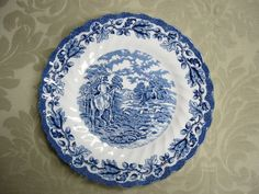 "Vintage 1960s Myott ""Country Life"" blue and white plate with hunting scene"