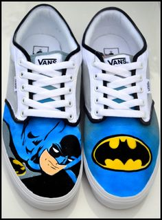 Custom Mens Shoes Custom Batman Shoes Mens Batman by PricklyPaw, $87.50 #lastminutegifts #Painted Sneakers #bestofetsy