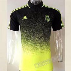b98e3c36232f1 Le Nouveau Chemise Polo Real Madrid Manche Courte Jaune Noir 2017 2018   Foot769Fr