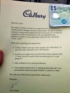 How not to get hired at Cadbury. [via]