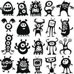 Drawing Doodles Sketchbooks Monsters and Aliens royalty free monsters and aliens stockvectorkunst en meer beelden van monster - A collection of black and white monsters and aliens Monster Illustration, Character Illustration, Illustration Art, Doodle Monster, Monsters Vs Aliens, Cute Monsters, Cartoon Monsters, Doodle Art, Art Alien