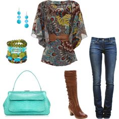 """Paisley Peacock""  My favorite outfit so far - A peacock shirt, Tiffany bag, and boots? Can't beat it.   created by stef-coss on Polyvore"