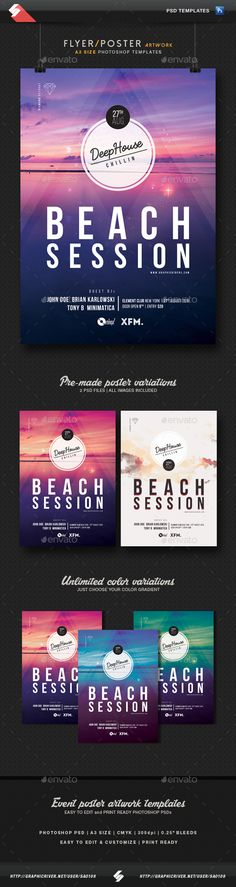 Beach Session - Deep House Flyer Templates A3