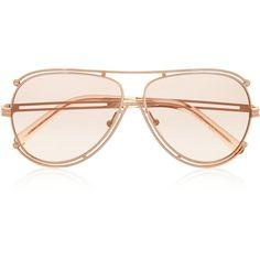 Chloé Isidora aviator-style metal sunglasses ($355) ❤ liked on Polyvore featuring accessories, eyewear, sunglasses, metal glasses, metal sunglasses, aviator glasses, metal aviator sunglasses and brown lens sunglasses