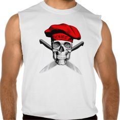 Black and white skull with red, traditional, puffy chef style hat and crossed chef knives as crossbones.
