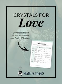 Click through to read the post and download your own copy of this list of crystals for love. The heart chakra is the fourth chakra and is located right where you'd expect! It is associated with the emotions, especially the ability to give and receive love. #ontheblognow #crystallovers #crystalhead #crystallover #crystalpower #crystalstones #crystalmeanings