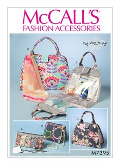 McCalls 7395 Kay Whitt Designs Travel Cosmetic Make-up Bags Sewing Pattern Diaper Bag Purse, Tote Purse, Mccalls Sewing Patterns, Bag Patterns To Sew, Apron Patterns, Pattern Fashion, Bag Making, Cosmetic Bag, Fashion Accessories