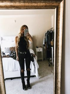 date night outfit for prog. rock/metal concert OOTD: black bodysuit (size small- xs was sold out, so it's a tad bit big on me- so cute/flattering though!) | black ripped jeans (true to size) | black booties | asos belt | black crossbody (linked...