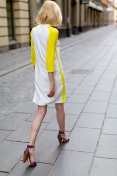 Lang Layering Dress in Double Silk Yellow & White | Emerson Fry