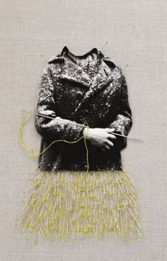 """'Creation' from the series """"Hommage of Roman Vishniac"""" by Finnish artist Ulla Jokisalo Cut-out pigment print, embroidery, thread, pins and needles on fabric, 44 x 32 cm with frame. source: Jokisalo images on pineasy; Textile Fiber Art, Textile Artists, Embroidery Applique, Embroidery Stitches, Collages, Collage Art, Illustrations, Illustration Art, Bordados E Cia"""